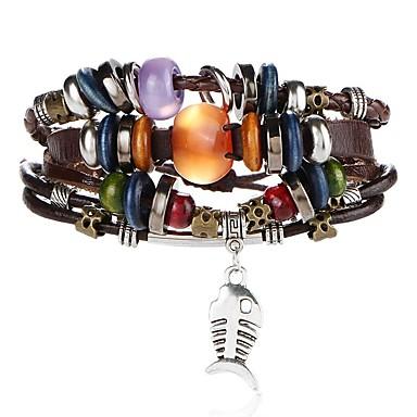 voordelige Herensieraden-Heren Lederen armbanden Gevlochten Vissen Artistiek Uniek ontwerp PU Armband sieraden Bruin Voor Avond Feest Straat