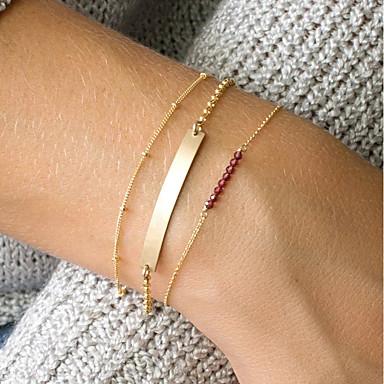 billige Motearmbånd-3pcs Dame Rød Krystall ID armbånd Link / Kjede Bar damer Natur trendy Kobber Armbånd Smykker Gull Til Daglig Ut på byen