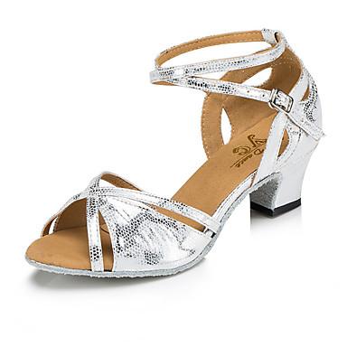 baratos Shall We® Sapatos de Dança-Mulheres Sapatos de Dança Couro Sintético Sapatos de Dança Latina MiniSpot / Recortes Salto Salto Carretel Dourado / Cinzento Escuro / Branco / Prata / Espetáculo / Ensaio / Prática