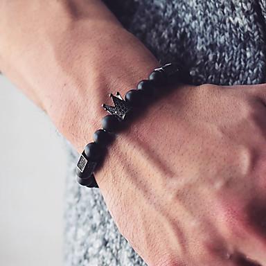 abordables Bracelet-Bracelet à Perles Bracelet de bonne chance Homme Rétro Perles Couronne simple Rétro Vintage Bracelet Bijoux Noir Rond pour Cadeau Quotidien Plein Air