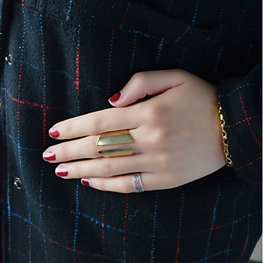 billige Motering-Dame Åpne Ring 1pc Gull Legering Annerledes damer Geometrisk Grunnleggende Daglig Stevnemøte Smykker Kryss-krop Søtt