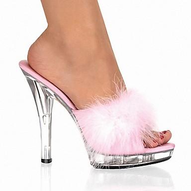 voordelige Damespantoffels & slippers-Dames Slippers & Flip-Flops Kristal Sandalen Peep Toe Kristal / Veer PVC Klassiek / Lucite Heel Zomer Zwart / Wit / Rood / Feesten & Uitgaan