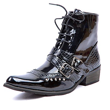 Men's Fashion Boots Patent Leather Winter Casual / British Boots Keep Warm Mid-Calf Boots Black