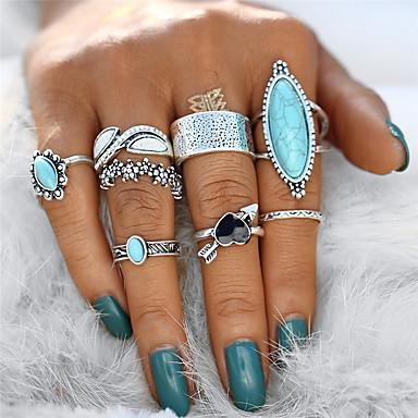 billige Statement Ringe-Dame Statement Ring / Knokering / Ring Set Turkis 8pcs Sølv Legering Geometrisk Form Statement / damer / Uvanlig Gave / Aftenselskap Kostyme smykker / Hjerte