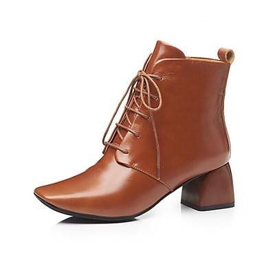 Femme Fashion Boots Cuir Nappa Automne Bottes Bottes Bottes Block Heel Bout fermé Bottine / Demi Botte Noir / Brun claire | Produits De Qualité  984af6