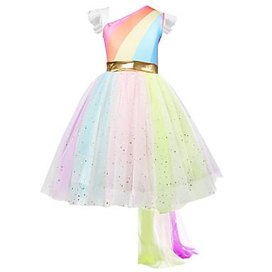 رخيصةأون ملابس الأميرات-فستان غير متماثل بدون كم قوس قزح مناسب للحفلات / مناسب للعطلات رياضي Active / حلو للفتيات أطفال / طفل صغير