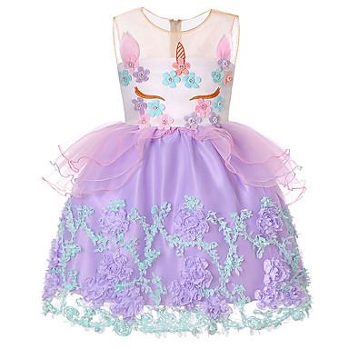 رخيصةأون ملابس الأميرات-فستان فوق الركبة بدون كم ألوان متناوبة / بقع مناسب للعطلات حلو / راقي للفتيات أطفال / طفل صغير