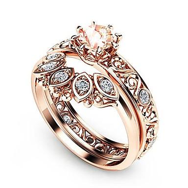 billige Motering-Dame Ring Ring Set Kubisk Zirkonium 2pcs Rose Gull Kobber Gullplatert rose Fuskediamant damer Ferie Koreansk Bryllup Fest Smykker Kronblad Smuk