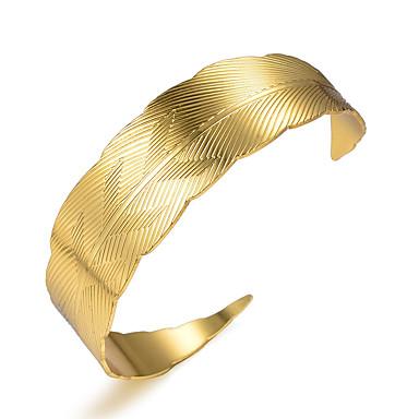 abordables Bracelet-Bracelet Jonc Manchettes Bracelets Femme Classique Plaqué or dames Luxe Ethnique Bracelet Bijoux Jaune pour Soirée Cadeau
