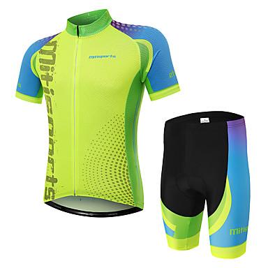 4fe753565b Homens Manga Curta Camisa com Shorts para Ciclismo - Verde Moto Conjuntos  de Roupas Secagem Rápida