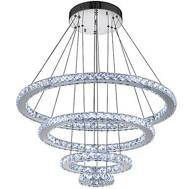 Circular Pendant Light Ambient Light Electroplated Metal Crystal, LED 110-120V / 220-240V Cold White LED Light Source Included / LED Integrated
