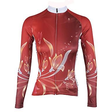 ILPALADINO Žene Dugih rukava Biciklistička majica Crvena Cvjetni / Botanički Bicikl Biciklistička majica Majice Ugrijati Podstava od flisa Ultraviolet Resistant Sportski Zima Elastan Runo Brdski