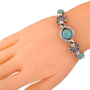 abordables Bracelet-Bracelet Femme 3D Turquoise Papillon Verseau dames Rétro Vintage Elizabeth Locke Bracelet Bijoux Argent pour Quotidien