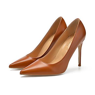 37f7ab5f36 Mulheres Stiletto Couro Primavera & Outono Formais / Minimalismo Saltos  Salto Agulha Dedo Apontado Marron / Festas & Noite