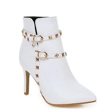povoljno Ženske čizme-Žene Fashion Boots PU Zima Čizme Stiletto potpetica Zatvorena Toe Čizme gležnjače / do gležnja Crn / Bež / Pink
