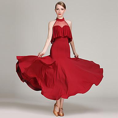 17936c70fe2e Ballroom Dance Dresses Women's Training / Performance Tulle / Ice Silk  Ruching / Split Joint Sleeveless