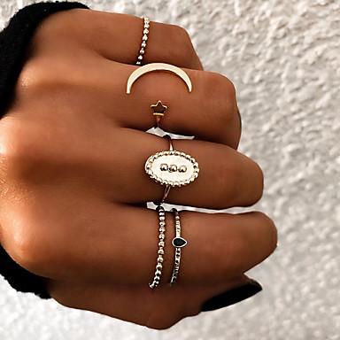 billige Motering-Dame Knokering / Ring Set / Multi-fingerring 5pcs Gull / Sølv Harpiks / Legering Oval damer / Uvanlig / Unikt design Gave / Daglig / Gate Kostyme smykker / Stjerne