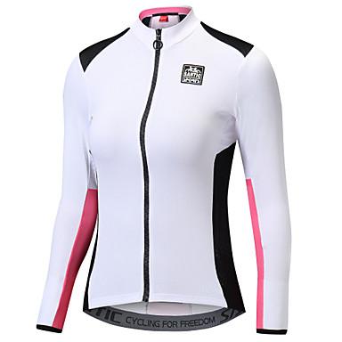 SANTIC Kadın's Uzun Kollu Bisiklet Forması - Beyaz + Pembe Tek Renk Bisiklet Ceket Forma Üstler Sıcak Tutma Hızlı Kuruma Ultravioleye Karşı Dayanıklı Spor Dalları Polyester %100 Polyester Da / Streç