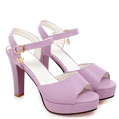 Kadın's Ayakkabı PU Bahar Sandaletler Kalın Topuk Günlük için Mor / Mavi / Pembe