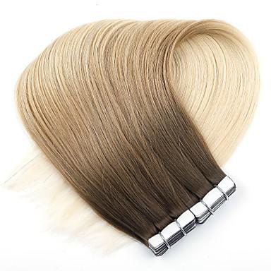 voordelige Extensions van echt haar-Neitsi Tape-in Extensions van echt haar Recht Echt haar Extentions van mensenhaar 1pack Dames Aardbeien Blond