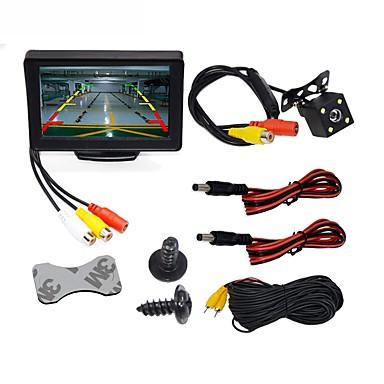 """billige Bil Elektronikk-BYNCG WG4.3T-4LED 4.3 tommers TFT-LCD 480TVL 480p 1/4"""" farge CMOS Med ledning 120 grader 1 pcs 120 ° 4.3 tommers Bakside Kamera / Bilomvendende skjerm / Bilen bakfra sett Vanntett / LED-indikator"""