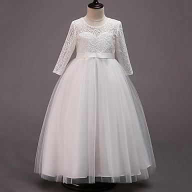 رخيصةأون ملابس الأميرات-فستان كم طويل دانتيل / شريطة / شبكة بقع مناسب للحفلات حلو للفتيات أطفال