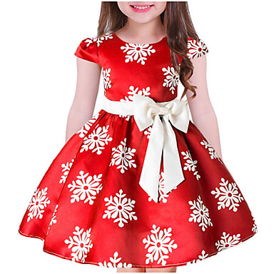 57b8c124c3c1 Kids Girls' Sweet Christmas Floral Short Sleeve Dress Blue
