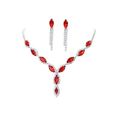 Žene Crvena Kristal Ogrlica Naušnice Set Klasičan Gypsophila Luksuz Naušnice Jewelry Rose Red / Crvena / Plava Za Vjenčanje Party 1set