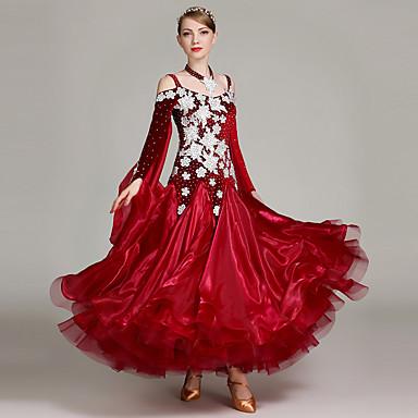 Für den Ballsaal Kleider Damen Leistung Samt / Die Garne Applikationen / Kombination / Kristalle / Strass Langarm Hoch Kleid / Neckwear