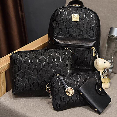 8fc2068405 Women s Bags PU(Polyurethane) Bag Set 4 Pieces Purse Set Solid Color Black    Beige