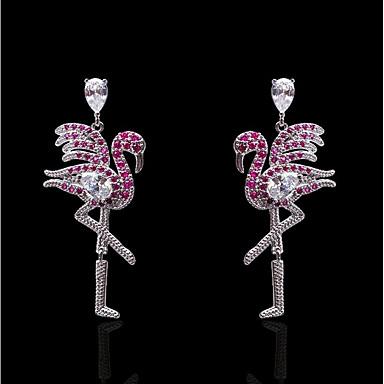 billige Moteøreringer-Dame Fuksia Kubisk Zirkonium Dråpeøreringer Klassisk Flamingo damer Stilfull trendy Oversized Gullbelagt S925 Sterling Sølv øredobber Smykker Sølv Til Fest / aften Daglig 1 par