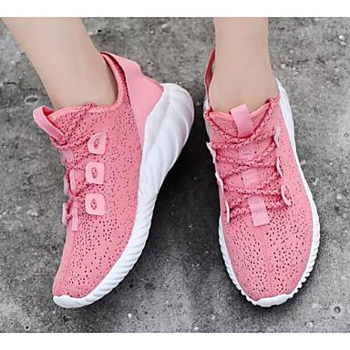 Femme Tissage Volant Printemps Chaussures d'Athlétisme Course Course Course à Pied Talon Plat Blanc / Rose / Noir / blanc | Online Shop  78cd18