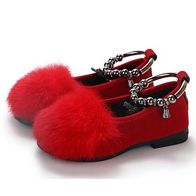 voordelige Babyschoenentjes-Meisjes Comfortabel Imitatiebont / Microvezel Platte schoenen Peuter (9m-4ys) / Little Kids (4-7ys) Zwart / Grijs / Rood Lente & Herfst