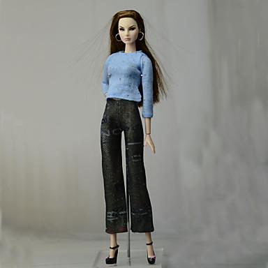 voordelige Poppenaccessoires-Pop Outfit Poppenbroek Broeken Tops Voor Barbie Modieus Blauw Geweven stof Doek Katoenen Doek Top / Broeken Voor voor meisjes Speelgoedpop