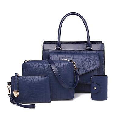 843cc343d Mulheres Bolsas PU Conjuntos de saco Conjunto de bolsa de 4 pcs Ziper Côr  Sólida Dourado / Preto / Vermelho