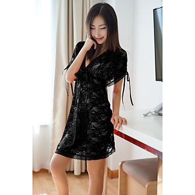 Žene Super seksi Odijelo Noćno rublje - Čipka Jednobojni Crn Red One-Size / Duboki V