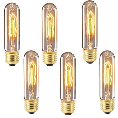 billige Elpærer-6pcs 40 W E26 / E27 T10 Varm hvit 2200-2700 k Kontor / Bedrift / Mulighet for demping / Dekorativ Glødende Vintage Edison lyspære 220-240 V