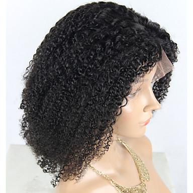 Virgin Human Hair Remy Human Hair Lace Front Wig Bob Layered Haircut style Brazilian Hair Natural Straight Silky Straight Wig 150% Density Soft Natural Natural Hairline African American Wig 100
