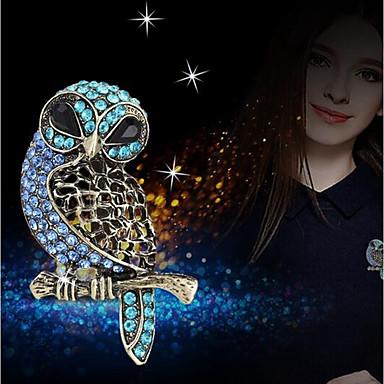 baratos Bijuteria de Mulher-Mulheres Broches 3D Coruja senhoras Estiloso Original Strass Broche Jóias Azul Para Diário