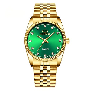 povoljno Zlatni sat-Muškarci Sat uz haljinu Kvarc Nehrđajući čelik Zlatna Vodootpornost Svijetli u mraku Analog Klasik Moda Minimalistički - Obala Crn Zelen