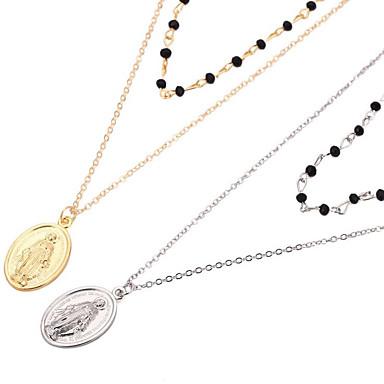 Žene slojeviti Ogrlice Vintage Style Graviranog dame Jednostavan Vintage Europska Glina Pozlaćeni Legura Zlato Pink 50.7 cm Ogrlice Jewelry 1pc Za Dar Dnevno