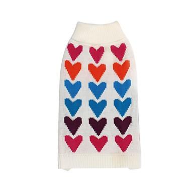 1c8375d8e Cachorros Gatos Súeters Roupas para Cães Estampado Coração Branco Têxtil  Ocasiões Especiais Para Dálmata Spitz Japonês