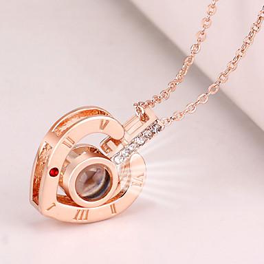 Žene Charm Necklace Srce Slovo dame Korejski Moda Slatka Style Umjetno drago kamenje Legura Zlato Pink 42+5 cm Ogrlice Jewelry 1pc Za Izlasci Rad