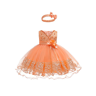 cheap Girls' Sweet Dresses-Baby Girls' Active / Basic Party / Birthday Solid Colored Lace Sleeveless Asymmetrical Cotton / Polyester Dress Orange