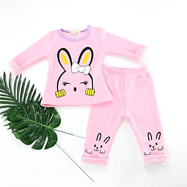 baratos Lingerie & Meias para Meninas-2pçs Infantil Bébé Para Meninas Activo Básico Diário Rabbit Estampado Estampado Manga Longa Padrão Padrão Algodão Roupa de Dormir Rosa