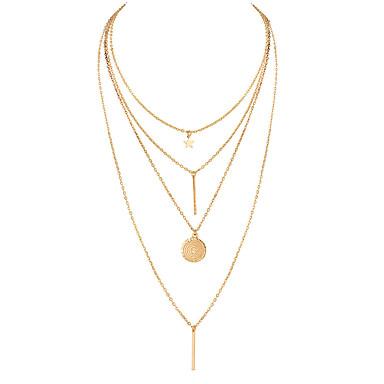 655f6e9e3b3c Mujer Acuñar Bar Collares de cadena Collar Y Collares en capas Estrella  damas Bohemio Europeo Moda