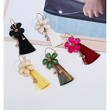 Žene Viseće naušnice Rese Cvijet dame Stilski Kićanka Naušnice Jewelry Bijela / Fuksija / Zelen Za Dnevno 1 par