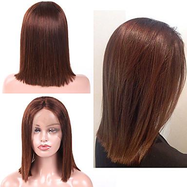 halpa Aitohiusperuukit verkolla-Aidot hiukset Lace Front Peruukki Bob-leikkaus tyyli Brasilialainen Suora Peruukki 130% Hiusten tiheys Paras laatu Tulokas kuuma Myynti Naisten Keskikokoinen Aitohiusperuukit verkolla Laflare