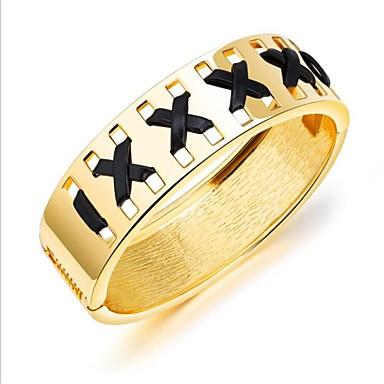 baratos Bangle-Mulheres Dourado Bracelete Clássico senhoras Fashion Banhado a Ouro 18K Pulseira de jóias Dourado / Prata Para Diário Escritório e Carreira