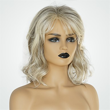 Human Hair Capless Wigs Human Hair Body Wave Asymmetrical Haircut Hot Sale / Natural Hairline Dark Gray / Multi-color Medium Length Capless Wig Women's